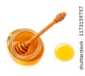 wooden dipper with dripping... | Shutterstock . vector #1173159757