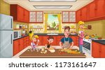 family wearing apron and... | Shutterstock .eps vector #1173161647