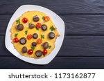 omelette with mushroom   tomato ... | Shutterstock . vector #1173162877