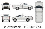 Pickup Truck Vector Mockup On...