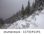 strong snowfall in the mountain ... | Shutterstock . vector #1173191191