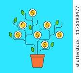 flat line illustration of money ... | Shutterstock . vector #1173193477