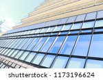 a building with blue windows.   Shutterstock . vector #1173196624