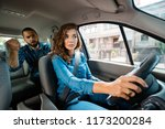 angry passenger arguing with... | Shutterstock . vector #1173200284