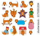 funny illustrations of a dog... | Shutterstock .eps vector #1173201334
