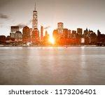 lower manhattan in new york... | Shutterstock . vector #1173206401
