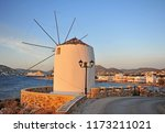 sunset view of old windmill and ... | Shutterstock . vector #1173211021