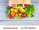 food paper bag with various... | Shutterstock . vector #1173218341