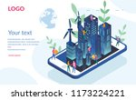 eco smart city concept for web... | Shutterstock .eps vector #1173224221