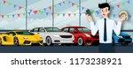 happy businessman  seller stand ... | Shutterstock .eps vector #1173238921