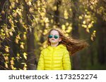 beautiful girl with flying hair ... | Shutterstock . vector #1173252274