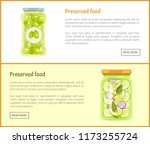 preserved food posters set with ... | Shutterstock .eps vector #1173255724
