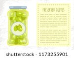 olives preserved food in glass... | Shutterstock .eps vector #1173255901