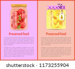 preserved food banners with... | Shutterstock .eps vector #1173255904