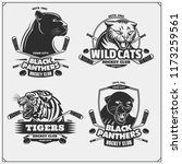 set of hockey emblems  badges ... | Shutterstock .eps vector #1173259561
