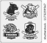 set of cricket emblems  badges  ... | Shutterstock .eps vector #1173259567