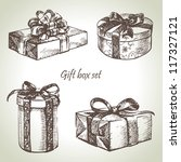 Set Of Gift Boxes. Hand Drawn...