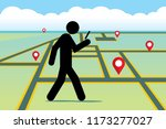 walking people with a mobile... | Shutterstock .eps vector #1173277027