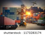 forklift handling container box ... | Shutterstock . vector #1173283174