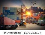 forklift handling container box ... | Shutterstock . vector #1173283174