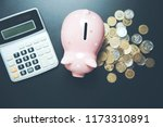 piggy bank with coins and... | Shutterstock . vector #1173310891