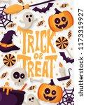 happy halloween background with ... | Shutterstock .eps vector #1173319927