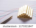 stack of gold bar on business... | Shutterstock . vector #1173321847