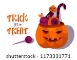 halloween holiday greeting card.... | Shutterstock .eps vector #1173331771
