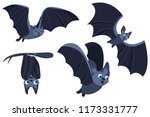 set of cartoon halloween bats.... | Shutterstock .eps vector #1173331777
