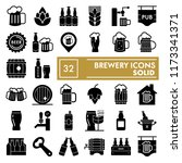 brewery glyph icon set  beer... | Shutterstock .eps vector #1173341371