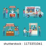 set of food and drink stands | Shutterstock .eps vector #1173351061