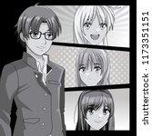 young manga faces cartoons | Shutterstock .eps vector #1173351151