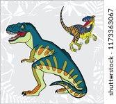 velociraptor and tyrannosaurus. ... | Shutterstock .eps vector #1173363067