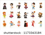 Stock vector ute little kids in colorful halloween costumes set halloween children trick or treating vector 1173363184
