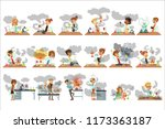 kid chemists characters posing... | Shutterstock .eps vector #1173363187