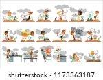 kid chemists characters posing... | Shutterstock .eps vector #1173363187