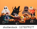 group of oranges face painting... | Shutterstock . vector #1173379177
