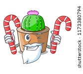 santa with candy mascot star...   Shutterstock .eps vector #1173380794