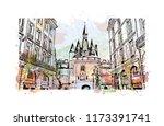 building view with landmark of... | Shutterstock .eps vector #1173391741