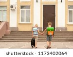 happy pupil children go back to ... | Shutterstock . vector #1173402064