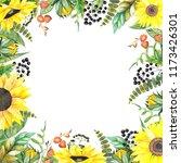frame of sunflowers  watercolor ... | Shutterstock . vector #1173426301