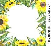 frame of sunflowers  watercolor ... | Shutterstock . vector #1173426307
