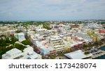 Beautiful aerial view of Front Street in Hamilton, Bermuda.