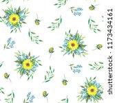 pattern of bouquets of summer... | Shutterstock . vector #1173434161