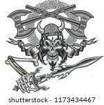 vikings skull with sword | Shutterstock . vector #1173434467