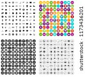 100 cycling icons set in 4... | Shutterstock . vector #1173436201