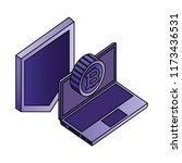 laptop bitcoin shield... | Shutterstock .eps vector #1173436531