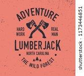 lumberjack typography. textured ... | Shutterstock .eps vector #1173446851