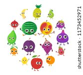 smiling fruit icons set.... | Shutterstock . vector #1173452971