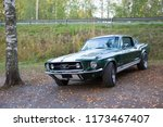 SASTAMALA, FINLAND - September 6: Classic Ford Mustang parked outdoors. Image taken in Sastamala, Finland on September 6, 2018. - stock photo